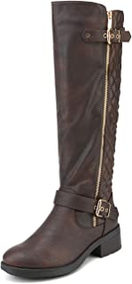 DREAM PAIRS Army Women's Round Toe Low Stacked Heel Riding Knee High Boots (Wide Calf Available)