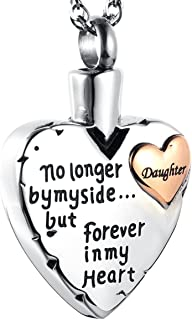 IMEIM Heart Cremation Urn Commemorative Necklace Ashes Stainless Steel Solid Meaningful Pendant Store Love Closed to My He...