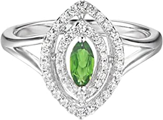 Carleen Sterling Silver 0.75 Carats Marquise Cut Diopside Ring Engagement Wedding Rings for Women Cubic Zirconia Rings for Girls