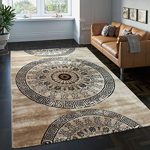 Paco Home Tappeto Classico Lavorato Cerchio Ornamenti Marrone Beige Nero SVENDITA, Dimensione:160x230 cm