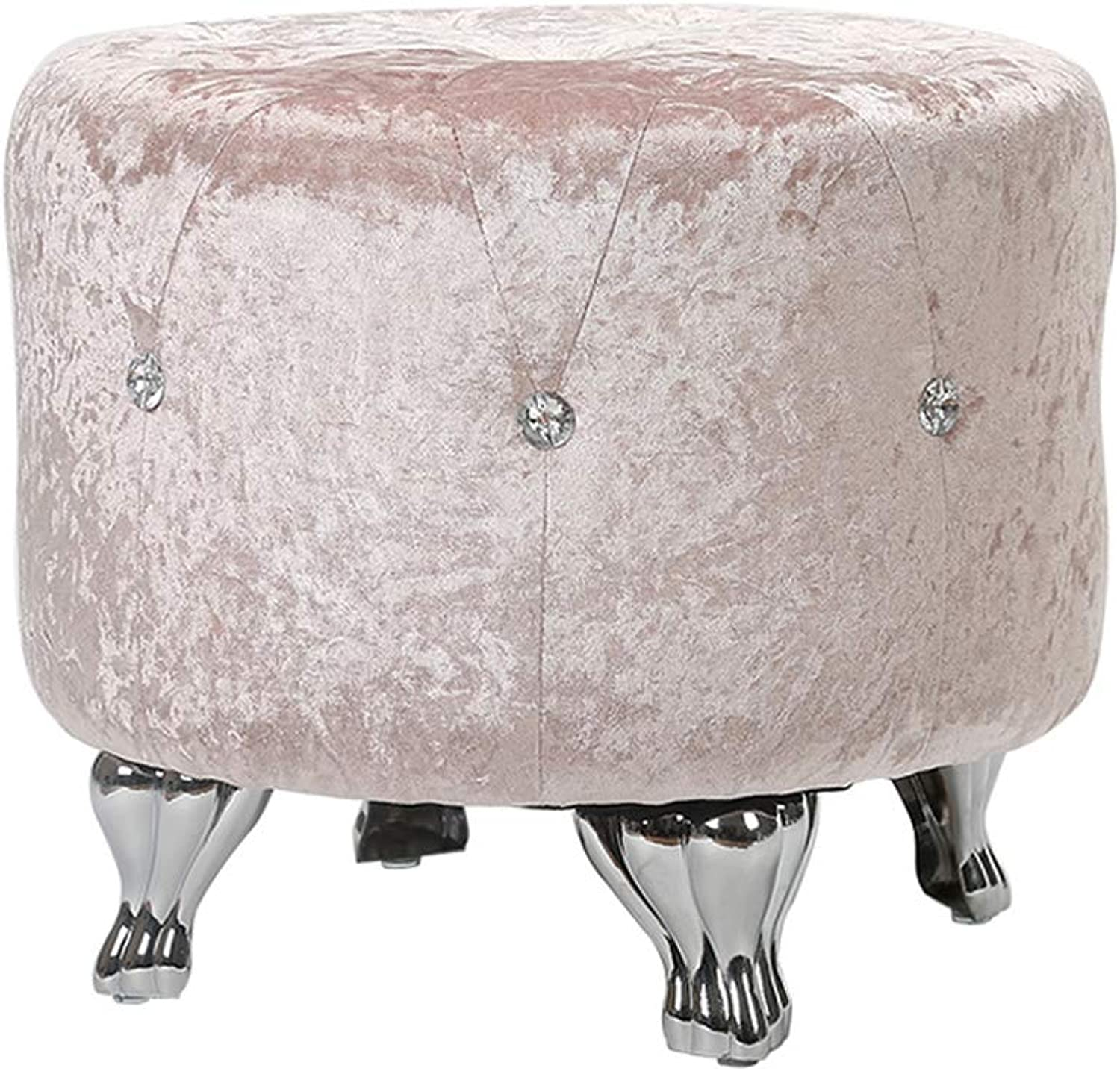 European Style Dressing Stool Chair Cloth Bench Modern Crystal Sofa Stool for shoes Change Make Up (color   D)