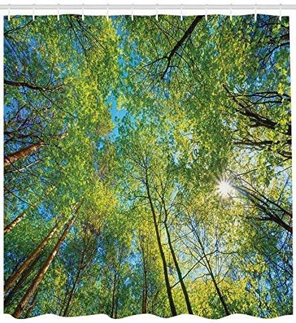 GzHQ Cortina Ducha Forestal Hoja perenne Reserva Natural Naturaleza Tronco Lima Planta Mangle fotografía Sauce 71x71 Pulgadas poliéster Tejido Impermeable decoración baño Gancho 12 Gancho plástico