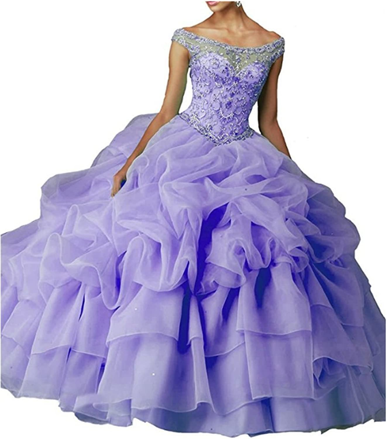 FWVR Women's 2017 Crystals Ruffles Corset Ball Gown Prom Quinceanera Dresses