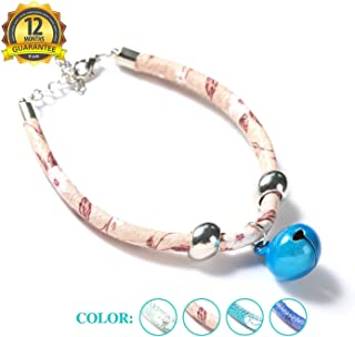 SENYEPETS Cat Collar with Bell,Leather Pet Collars for Cats Puppy Small Dogs