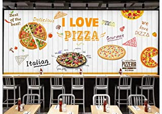 3D Large Mural Custom Wallpaper Photo Pizza Restaurant Backdrop Decoration-White Wooden Pizzeria Shop Wall, 150Cmx105Cm