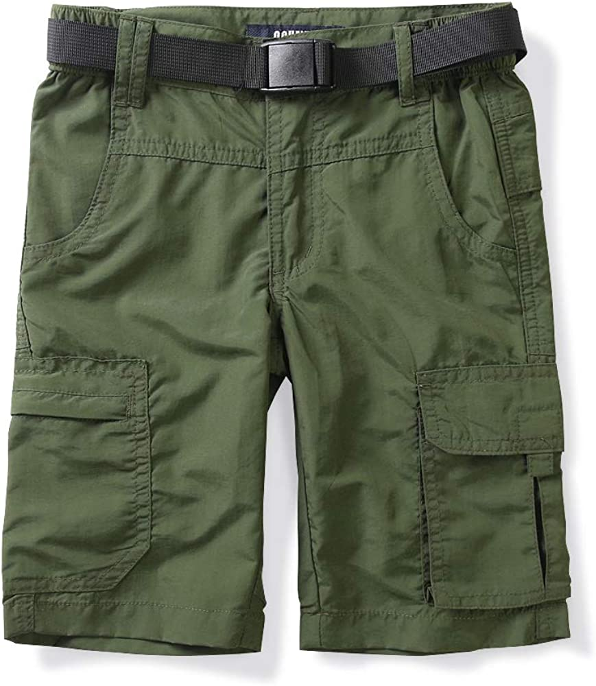 Boys Mens Elastic Waist Cargo Shorts,Youth Casual Lightweight Outdoor Quick Dry Hiking Travel