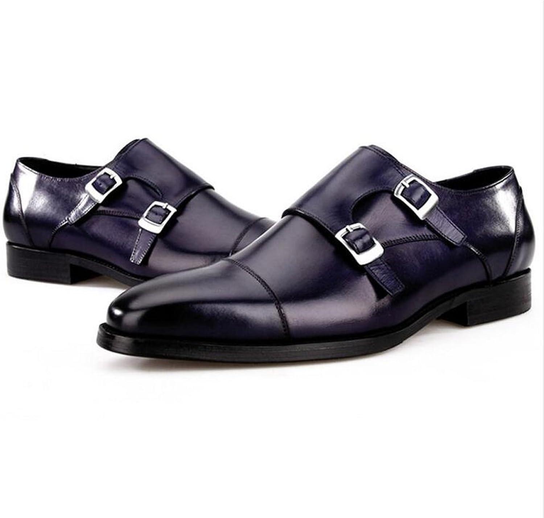 GAIXIA Men's Leather shoes Fashion Business Dress shoes Personalized Casual Hair Stylist shoes Dress shoes 39-44 Yards Men's Leather Boots (color   bluee, Size   42 EU)
