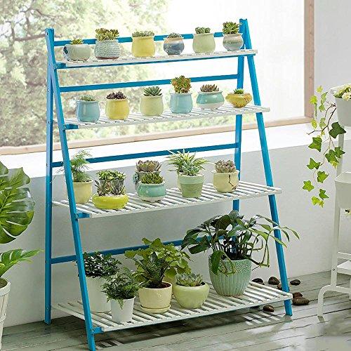 LLLXUHA Plantes en pot Multi-couche Stand de plante, Simple Pliant Multifonction Support de fleurs, intérieur Plantes charnues Présentoir, Espace de rangement livres étagère à livres , Blue , 100*47*122cm