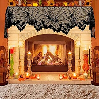 Angelhood Halloween Decorations Lace Spiderweb Fireplace Mantel Scarf Cover,Black Lamp Shades Cover,Door Window Curtain Valance Multinational Festive Party Supplies 18 X 96 Inch