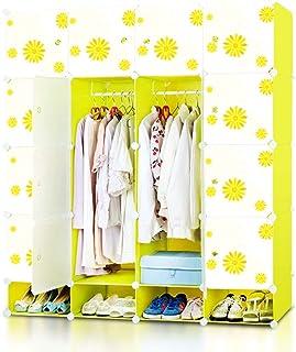 Wardrobe الراتنج تركيبة بسيطة خزانة خزانة خزانة خزانة خزانة صفراء من ستة أبواب Portable Closet Storage Organizer