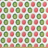 ABAKUHAUS Wassermelone Satin Stoff als Meterware, Tropische