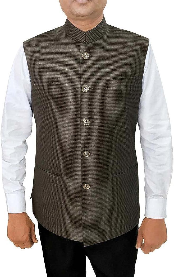 INMONARCH Mens Olive Drab Waistcoat Nehru Vest Partywear NV94