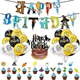BAIBEI 39Pcs Artículos de Fiesta para Harry Potter, Suministros para la Fiesta de Harry Potter, Estandarte de cumpleaños, Harry Potter Inspired Cupcake Toppers, Globo de látex