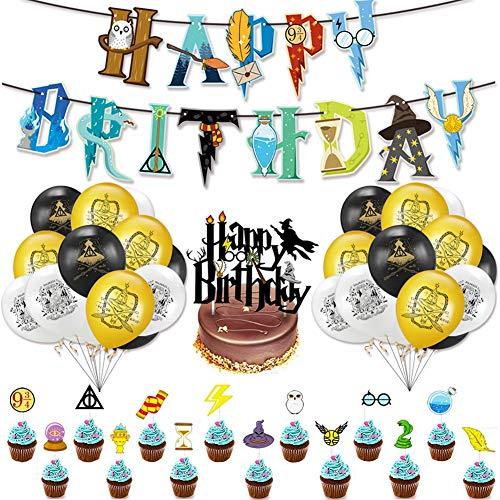 Babioms 39Pcs Artículos de Fiesta para Harry Potter, Suministros para la Fiesta de Harry Potter, Estandarte de cumpleaños, Harry Potter Inspired Cupcake Toppers, Globo de látex