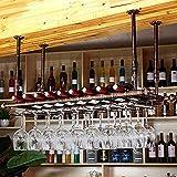 Soporte de Copa de Vino, Soporte para Copa de Vino Colgante, Ajustable Sostenedor del Cubilete, Colgador Copas, Soporte para Copa de Vino Invertido para Barra, Cocina Restaurante-Bronze_80*30cm