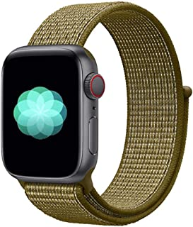 Nylon Sport Band for Apple Watch 44mm 42mm, Soft Replacement Strap for iWatch Series 4/3/2/1 (Olive Flak)