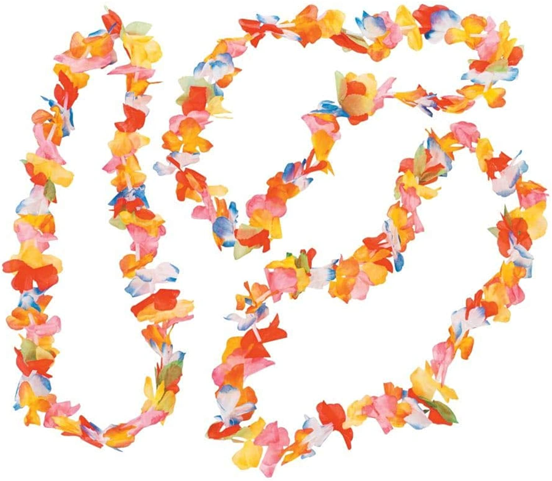 12 Bright Rainbow Hawaiian Flower Lei Party Necklace