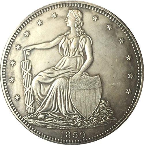 Bespoke Souvenirs Recuerdos a Medida RARA Antiguo Estados Unidos 1859 año de Libertad Gran Plata Media Moneda de dólar