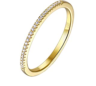 Wuziwen 1.5mm Gold Plated Sterling Silver CZ Simulated Diamond Stackable Ring Eternity Bands Size 5-10