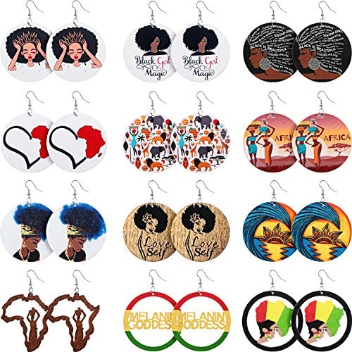 12 Pairs African Map Women Earrings Round Natural Wooden Painted Earrings Ethnic Style Dangle product image