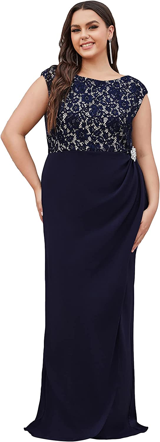 Ever-Pretty Women Long Cap Sleeves Lace Round Neck Mother of The Bride Dress Plus Size 90048-PZ