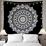 ENJOHOS Black and White Large Wall Tapestry for Bedroom Black Mandala Psychedelic Art Hanging Black Bohemian Flower Tapestry Hippie Boho Tapestry for Ceiling, W79 x T59