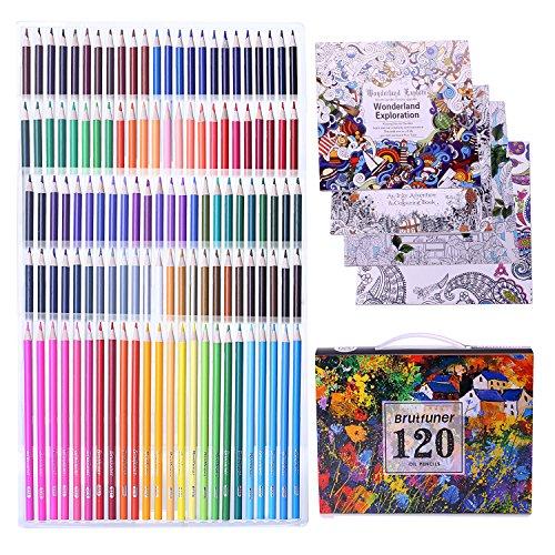 Laconile 120 Oily Art Coloured Pencils Vibrant Colors Pre-Sharpened...