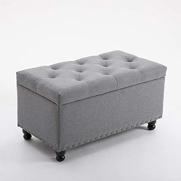 BELARDO Home 31 9 Rectangular Storage Ottoman Bench With Hinged Lid Footrest Stool Coffee Table Holds Up To 600lbs Fabric Gray