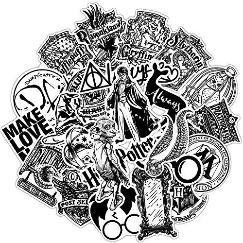 Harry Stickers Potters, adesivo nero e bianco, per bagagli, skateboard, portatile, motivo: anime, impermeabile, 31 pezzi