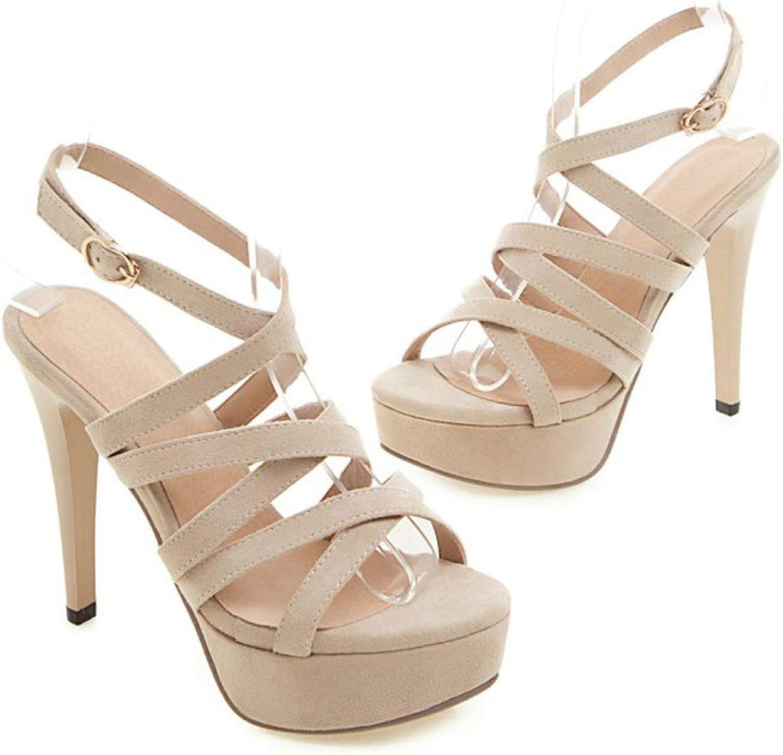 3afd30b5180db Women's Sandals Open shoes Women's Heel High Heel Fine Buckle Toe ...