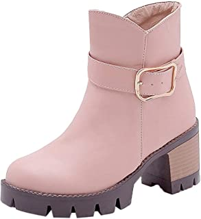 〓COOlCCI〓Women Warm Short Boots Chunky Mid Heel Round Toe Winter Snow Ankle Booties Fashion Boots Chelsea Boot Shoes