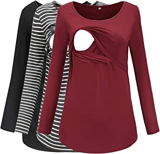 Women's Long Sleeve Nursing Tops Round Neck Breastfeeding Tunic 3-Pack