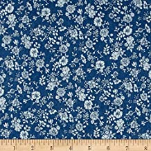 TELIO Light Blue Denim Floral Print Fabric by The Yard