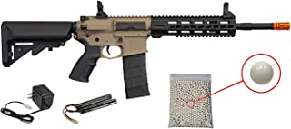 Wearable4U Tippmann Commando M4 Airsoft AEG Rifle with Keymod Handguard with Included 9.6V NimH 1600 mAh Battery and Charger Pack of 1000 6mm 0.20g BBS Bundle (Carbine, Tan)