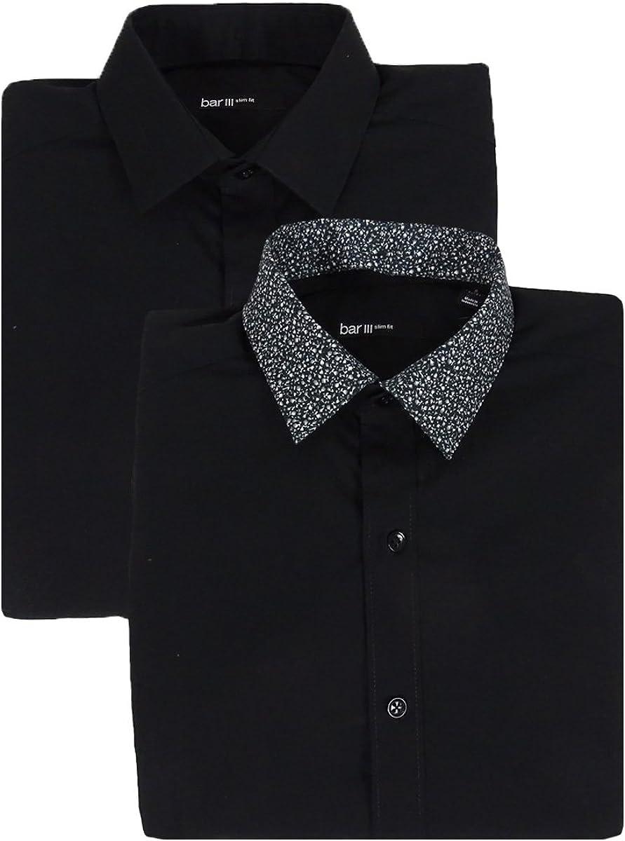 Bar III Mens Slim Fit Button Down Dress Shirt Black L