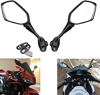 MZS Motorcycle Mirrors Rear View Adjustment compatible Kawasaki Ninja 250R Honda CBR250R CBR300R CBR500R CBR600RR CBR 600 F4 F4I CBR900RR CBR919RR CBR929RR CBR954RR VTR1000 GT125R GT250R GT650R GT650S