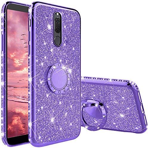 XTCASE Funda para Huawei Mate 10 Lite Glitter, Diamante Brillo Carcasa 360 Grados Soporte Anillo Giratorio Resistente de Gel Silicona TPU Anti-Rasguños Bling Cover - Púrpura