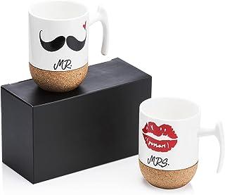 Love-KANKEI Mr Mrs Tasses à Café En Porcelaine Avec Le Siège En Bois, 300 ml, Cadeau de Noël, Mariage, Couple ou Anniversaire
