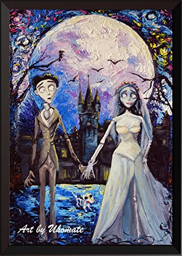 Uhomate Corpse Bride Victor and Emily Wall Decor Vincent Van Gogh Starry Night Posters Home Canvas Wall Art Print Nursery Decor Living Room Wall Decor A087 (8X10)