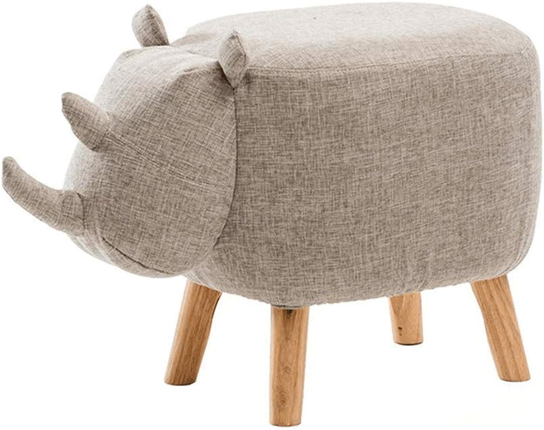 Solid Wood Animal Stool Thickening Foot Stool Creative Fashion Personality Cute Rhinoceros Sofa Stool