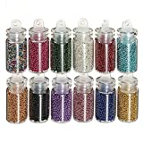 Nicebuty Ruichy Lot de 12mini bouteilles Nail Art Perles de Caviar Balles de paillettes manucure Décoration