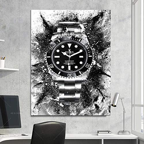 Caliente nuevo cartel nórdico e impresiones Arte de la pared Reloj de moda Moda modular Decoración del hogar Decoración del dormitorio Decoración de la vida Pintura de la lona-60x90cm-Sin marco