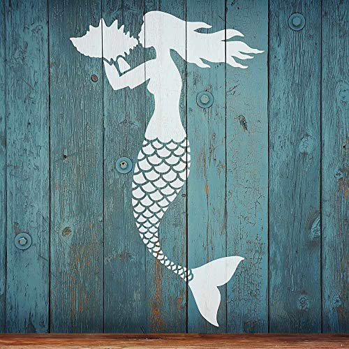 Mermaid Nautical Wall Stencil – Wall Painting Stencils for Easy Room Makeover – Large Stencil for Painting Walls – Stenciling Instead of Wallpaper Saves Money – Stencils for Walls (Small)