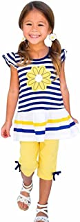 G-real Kids Girls Daisy Flower Stripe Shirt Top Bow Pant Set Clothing(Tops+ Pant)