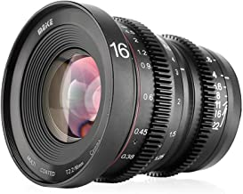 Meike MK 16mm T2.2 Large Aperture Manual Focus Prime Low Distortion Mini Cine Lens Compatible with Micro Four Thirds M4/3 MFT Olympus/Panasonic Lumix Cameras and BMPCC 4K Zcam E2