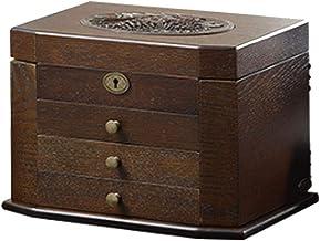 Retro Antieke Bloem Gesneden Houten Sieraden Opbergdoos Container Case Sieraden Display Organizer met Lock Gift