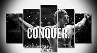 Epikkanvas 5PCS Framed Art - Conquer by Arnold Schwarzenegger - 5 Piece Conquer by Arnold Motivation Artwork Canvas Painting on Wall Art for Office and Home Wall Decor (30x40cmx2,30x60cmx2,30x80cmx1)