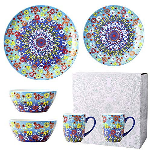 6 Teile - Bleifreie Keramik Teller, Tassen Und Schalen - Geschirrset FüR Mikrowelle/GeschirrspüLer/DesinfektionsgeräT - FüR Abendessen, Partys Und Geschenk,Blue