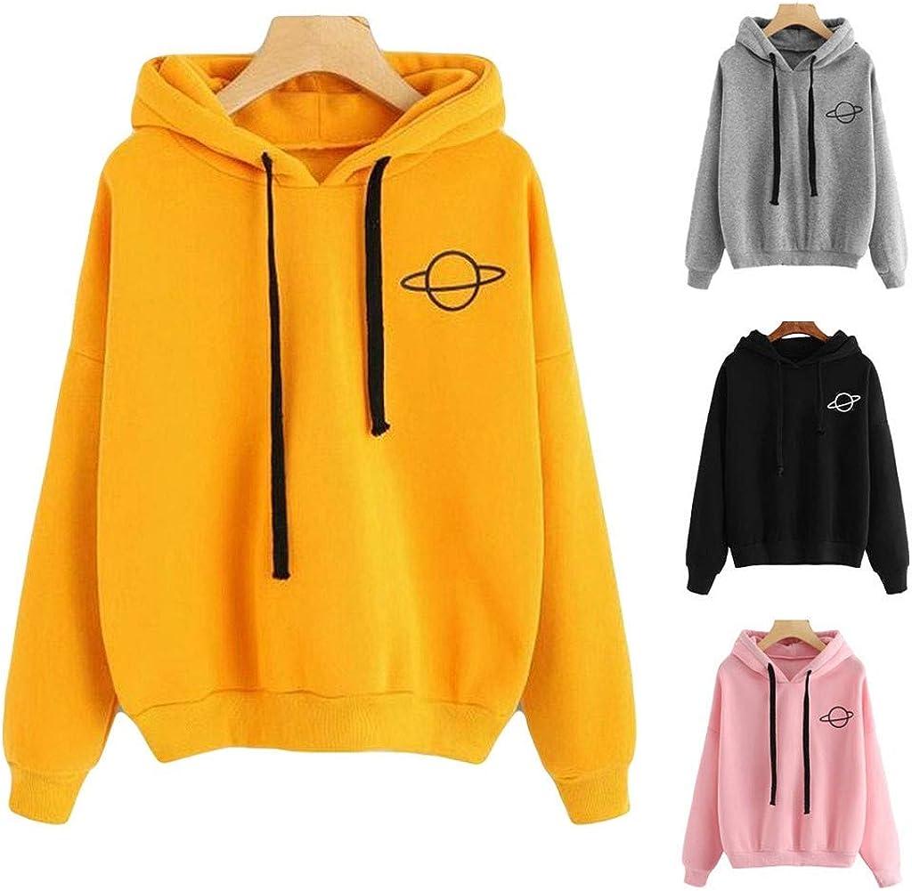 Toeava Sweatshirts for Women,Women's Teen Girls Fashion Planet Graphic Hoodie Pullover Drawstring Hooded Sweatshirt