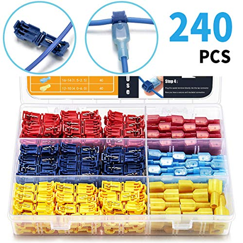 Qibaok 240 PCS T-Tap Wire Connectors Self-Stripping Quick Splice Electrical Terminals and Nylon Insulated Male Quick Disconnect Spade Terminals Kit